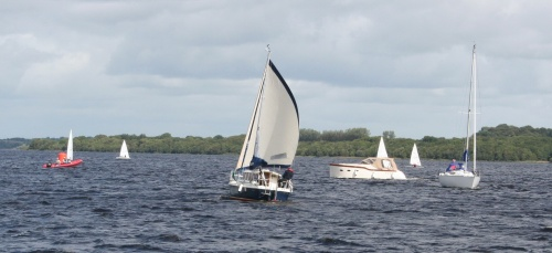 Haber running up Lough Derg