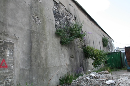 Looking along the side of the building