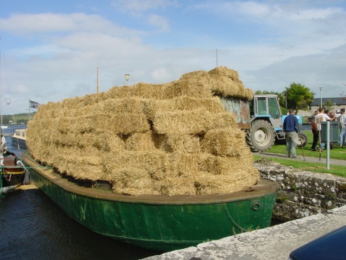 Hay being loaded at Dromineer