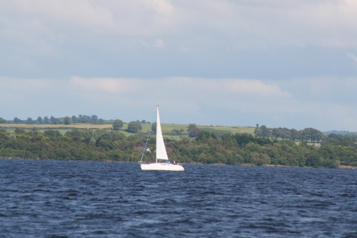 Unidentified sailing boat heading north on Lough Derg