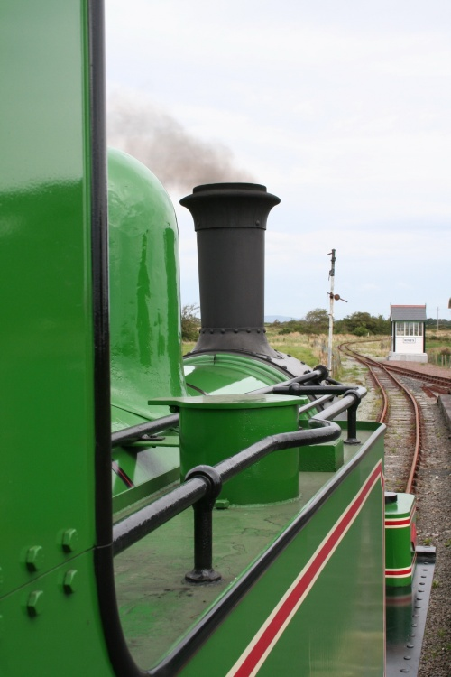Looking forward along the engine