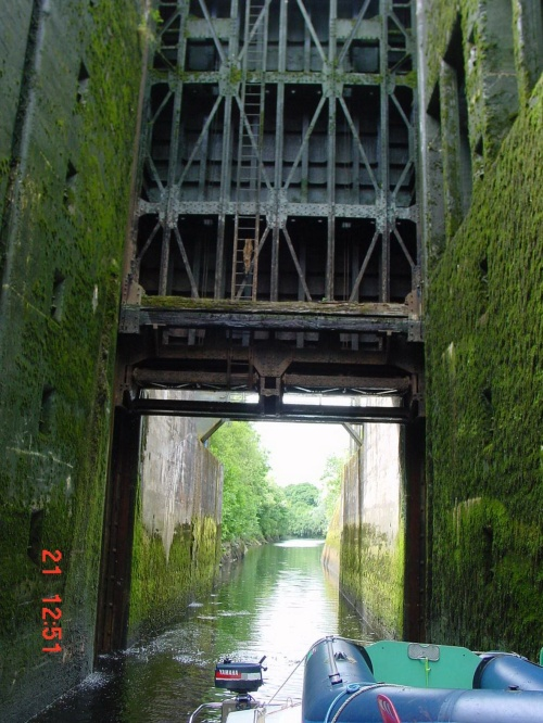 Looking under the gate down the canal