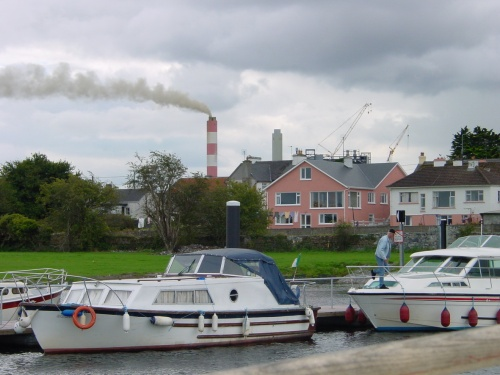 Shannonbridge from off the new moorings above the village (2003)
