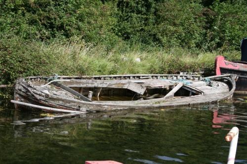 Sunken open boat
