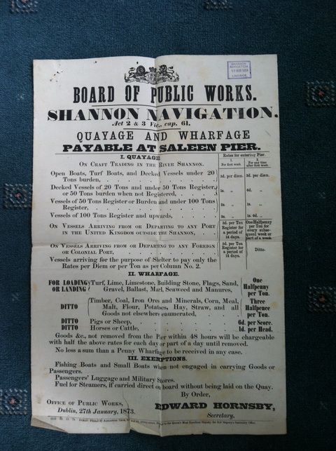Board of Public Works charges 1873 (courtesy of Paul O'Brien and the Glynn family archive)