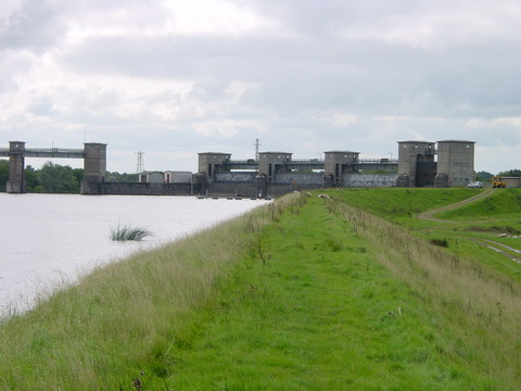 Parteen Villa Weir from the embankment upstream (2008)