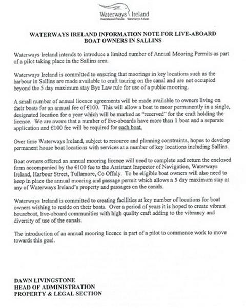 WI's letter to Sallins liveaboards