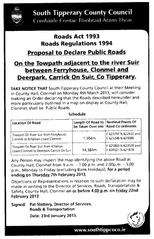 South Tipperary County Council's newspaper ad about declaring public roads on the Suir towing-path