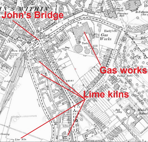 Gas works and lime kilns (OSI ~1900)