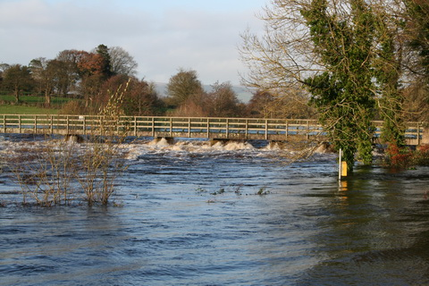 The footbridge in the floods of November 2009