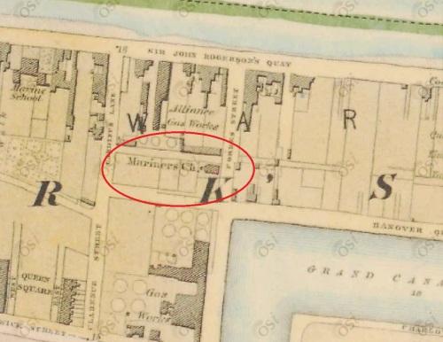 The Mariners' Church, Forbes Street, Dublin (OSI ~1838)