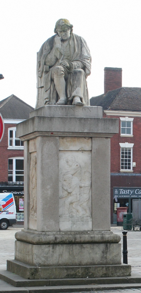 Statue of Dr Johnson near his birthplace in Lichfield