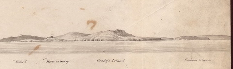 Grady's and Cannon Islands from off Innish Corker [Admiralty Surveyors 1841 by kind permission of the UK National Archives]
