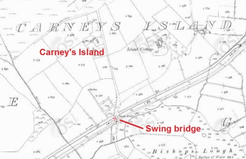 Carney's Island swing bridge on the Ulster Canal (OSI ~1900)