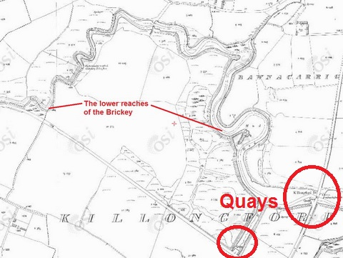 The lower reaches of the Brickey (OSI ~1900) showing two quays