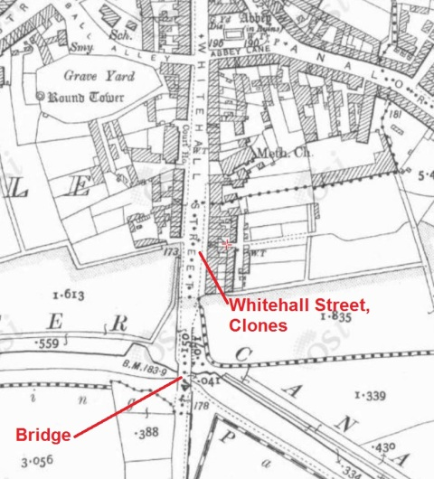 Whitehall Street Clones site of swing bridge on the Ulster Canal (OSI ~1900)