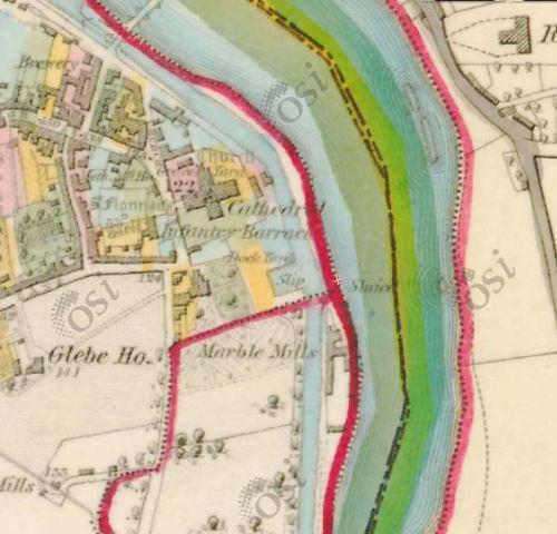 "The marble mill at Killaloe (OSI 6"" map ~1840)"